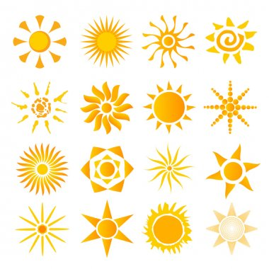 set of icons picture hot summer solndtse
