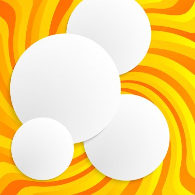 Circles with drop shadows on yellow swirl background. Vector illustration EPS 10 for infographic website or flyer, presentation template, brochure page layout, cover book or magazine clip art vector