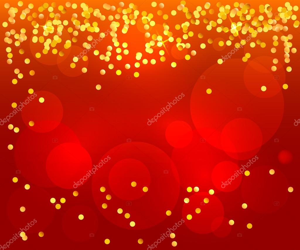 Red Background Poster Invitation Celebration Confetti Gold