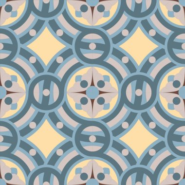 Seamless vector vintage background pattern in golden, gray, blue colors.