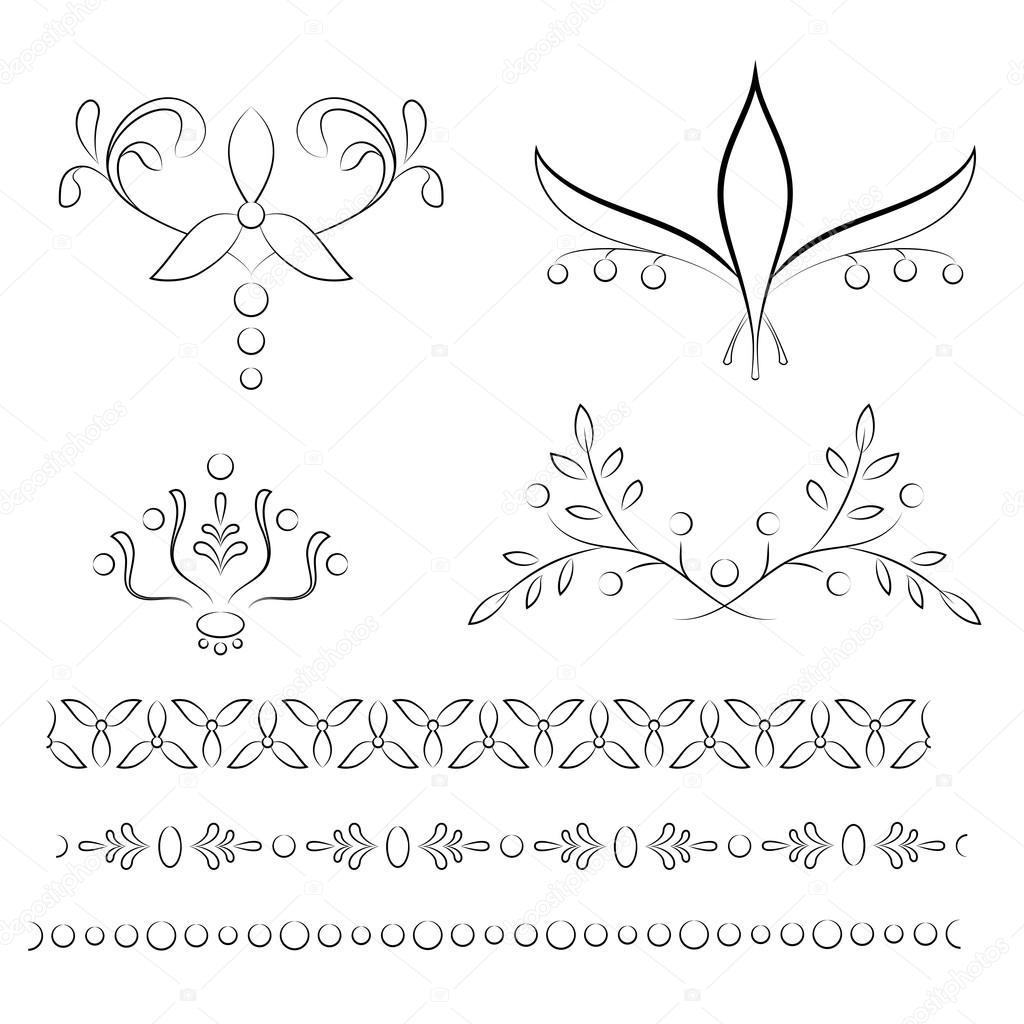 Set of four floral vignettes with tree matching borders
