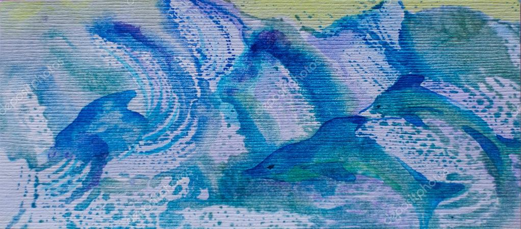 Watercolor picture of dolphins family in blue waves