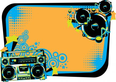 Boom box and speakers in graffiti style