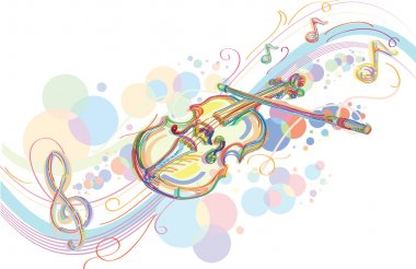 artistic violin and musical notes