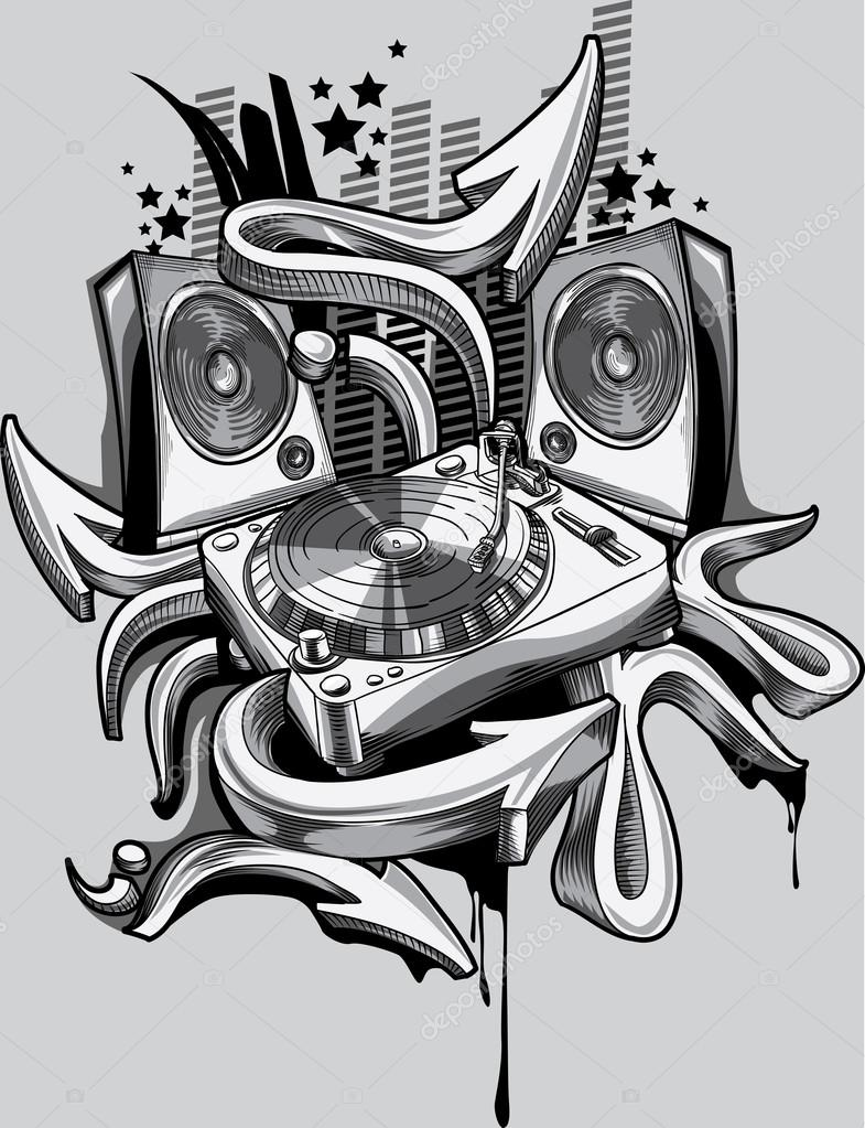 Music design turntable graffiti arrows stock vector