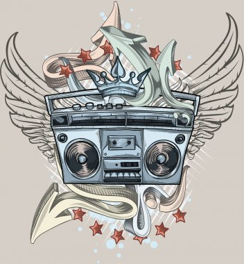 Tape recorder and graffiti