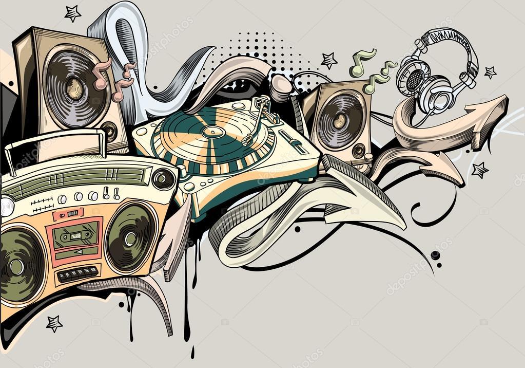artistic music graffiti — Stock Vector © alex_scholar ...