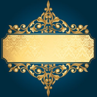 Golden vintage ornament frame