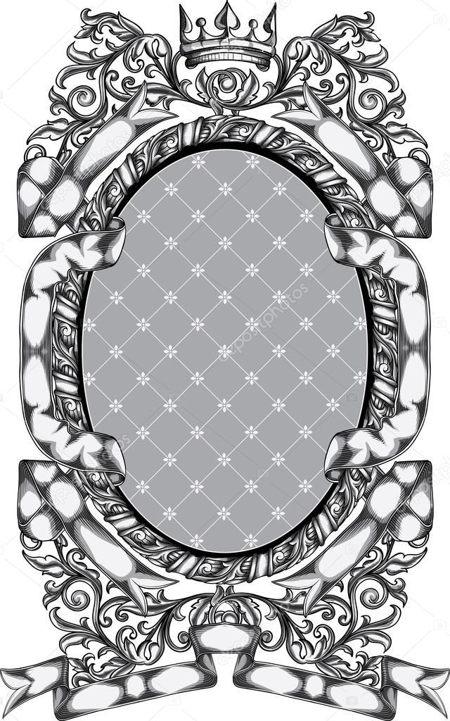 Marco ovalado adornado retro — Vector de stock © alex_scholar #90923574