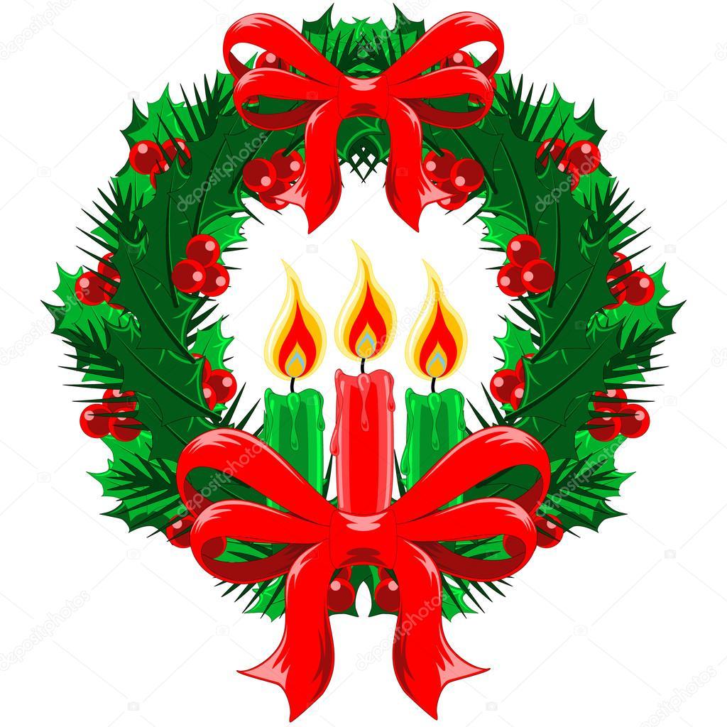 Imagenes Lazos De Navidad.Guirnalda De La Navidad Con Lazos Y Velas Archivo Imagenes