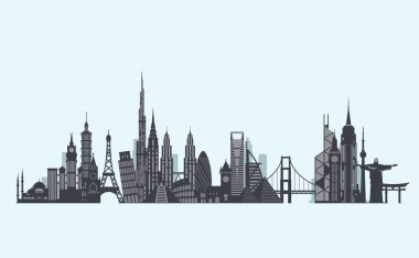 World landmarks silhouette. Travel and tourism background.