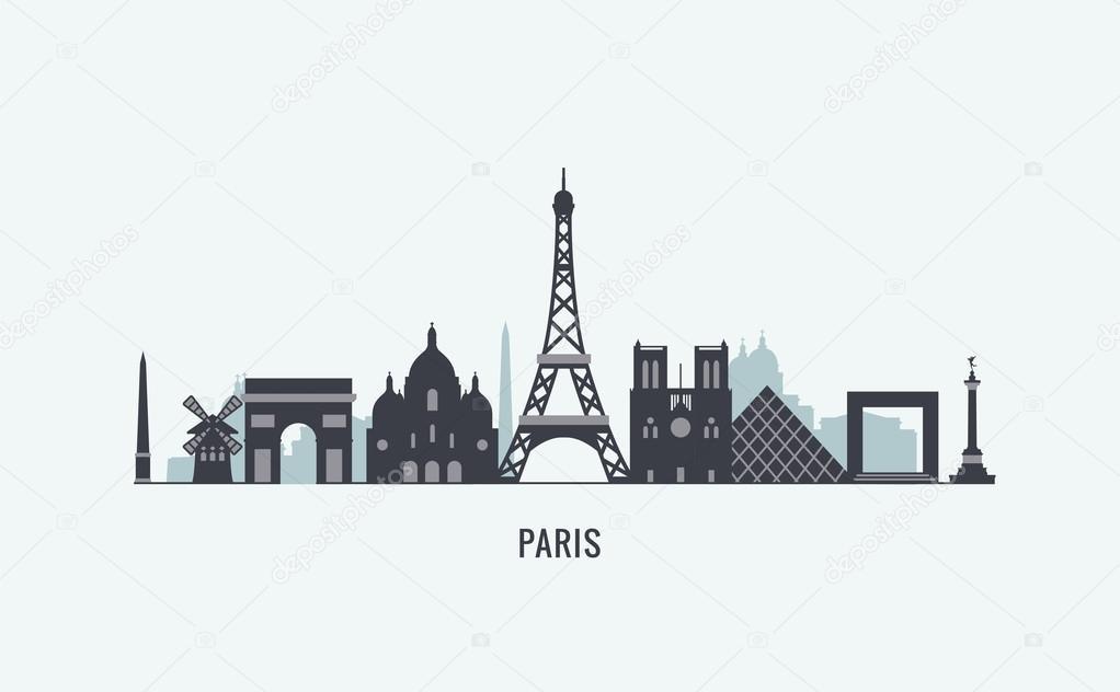 paris skyline silhouette ⬇ vector image by © antikwar | vector stock  109079640  depositphotos