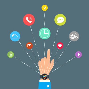 Hand with Smart Watch and technology functions