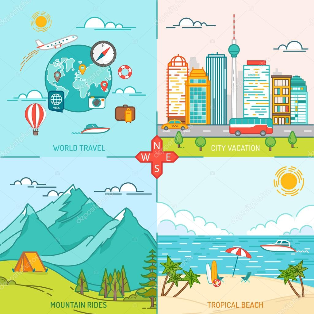 Mountain, City, Island, Travel and tourism icons. Flat design th