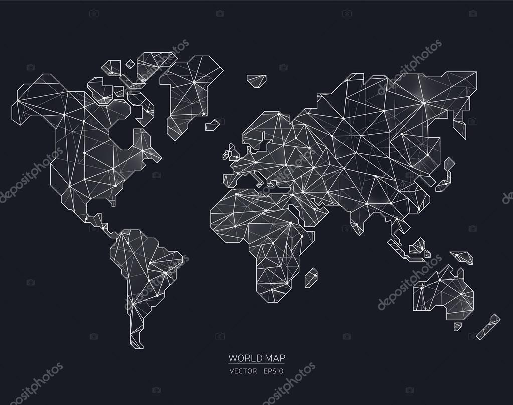 Vector world map illustration in polygonal style