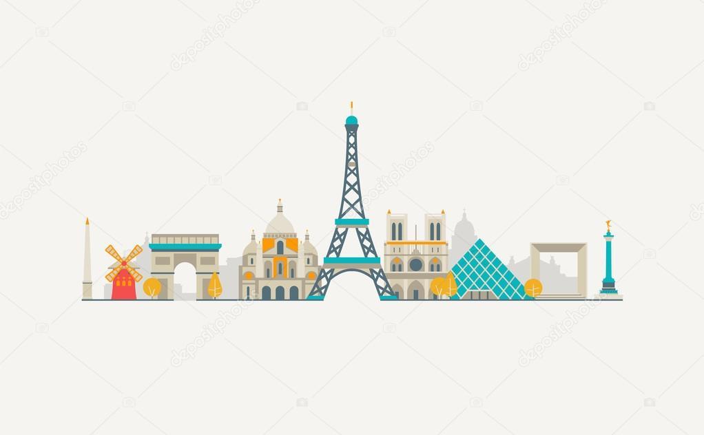 paris abstract skyline ⬇ vector image by © antikwar | vector stock 70716059  depositphotos