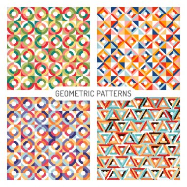 Abstract seamless geometric patterns vector set