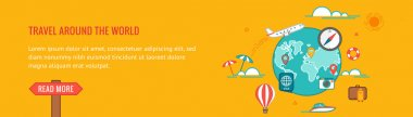 Travel banner. Colorful flat design thin line style illustration