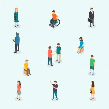 Isometric 3d vector people. Set of woman and man. Vector illust