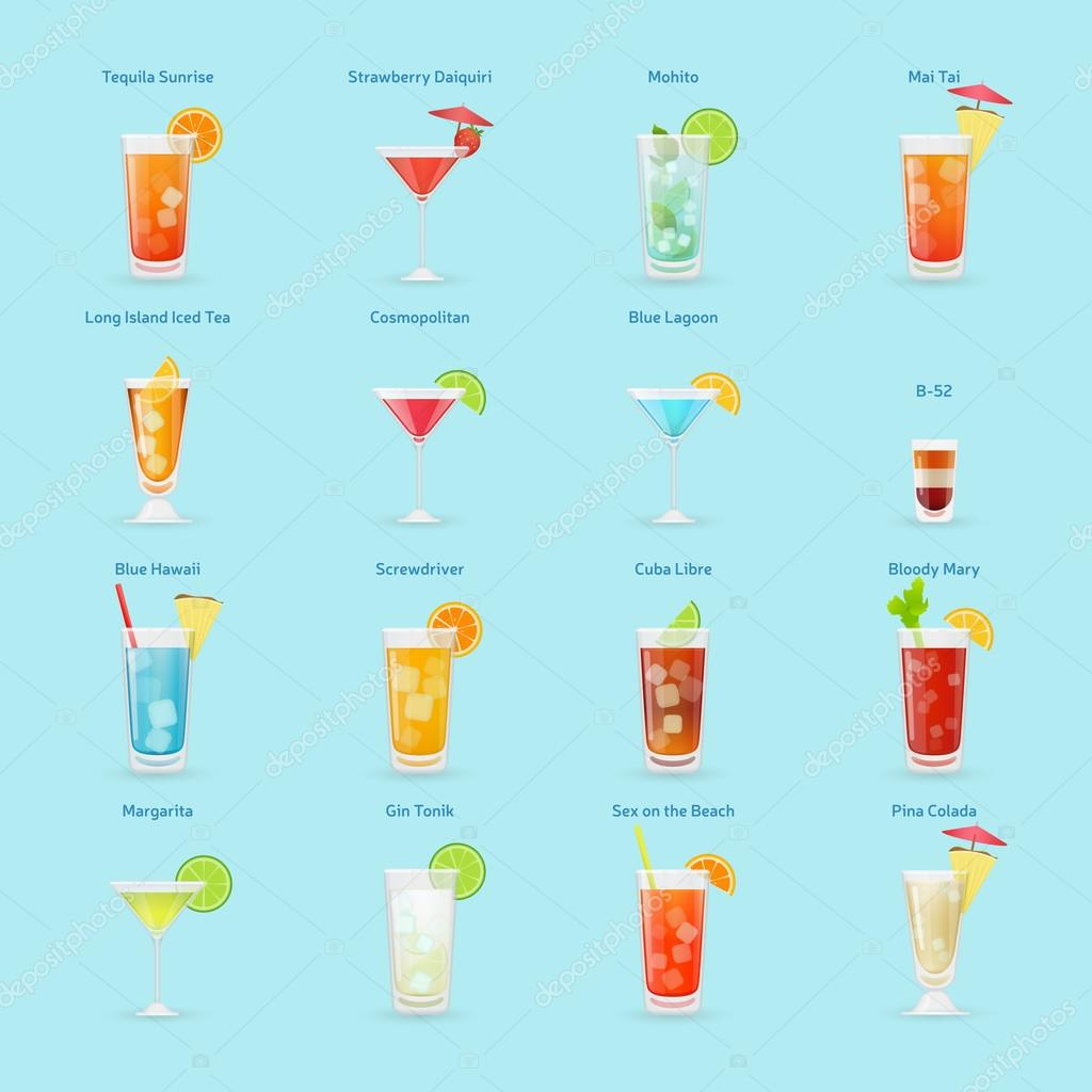 Alcohol drinks and cocktails icon set, popular cocktails, isolat