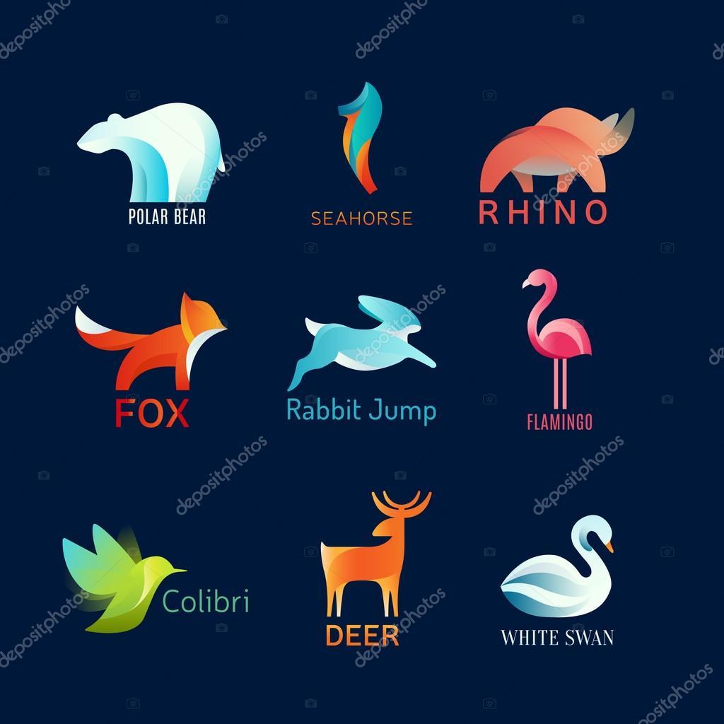 Animals Birds vector logo set