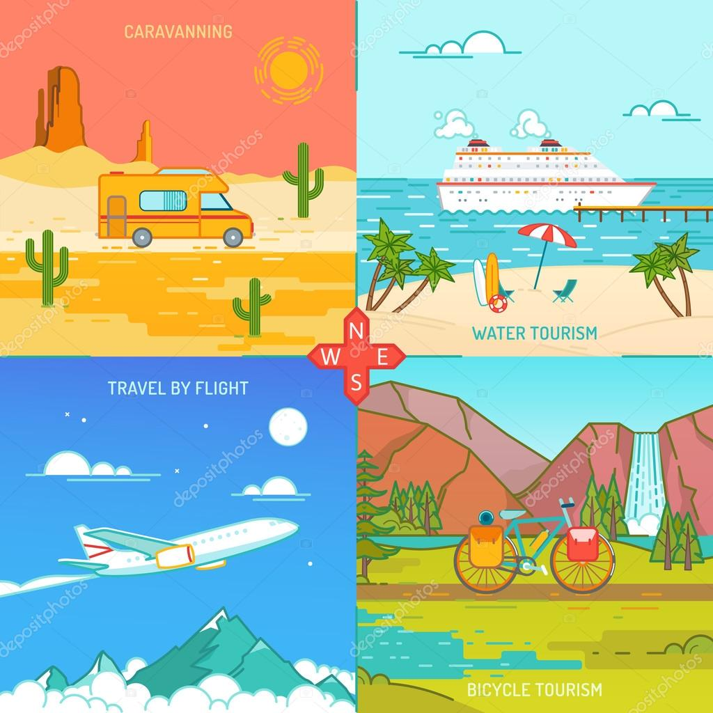 Caravaning Bicycle and water tourism Icons of traveling Flat style illustration