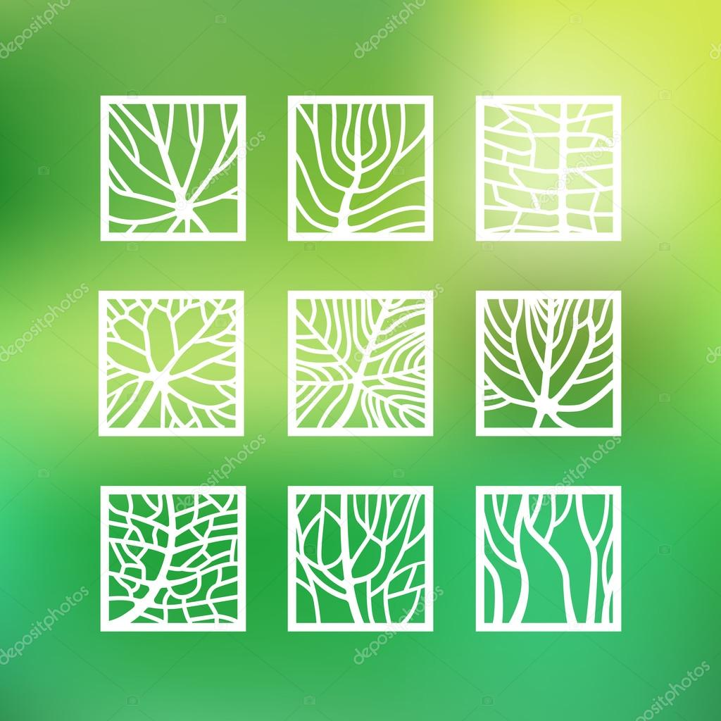 Leaves icons set in outline style for ecology and botany design
