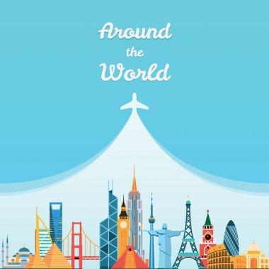 World landmarks. Travel and tourism background.