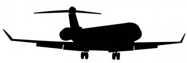 Silhouette of a passenger airplane landing. Aircraft with flaps and landing gear released.