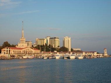 Resort Sochi on the Black Sea, marina and ships at the pier