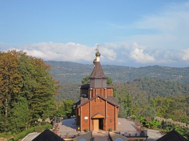 Temples of Russia, wooden church in a mountain village
