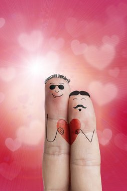 Happy Valentine's Day theme series. Painted fingers featuring a gay couple