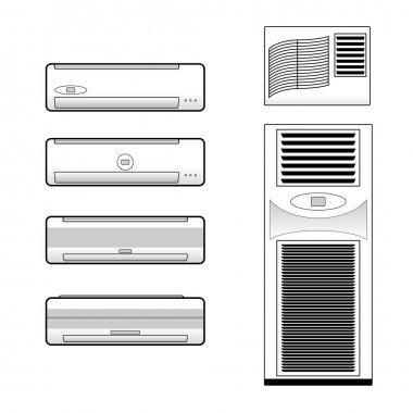 Types of air conditioners icons set vector stock.