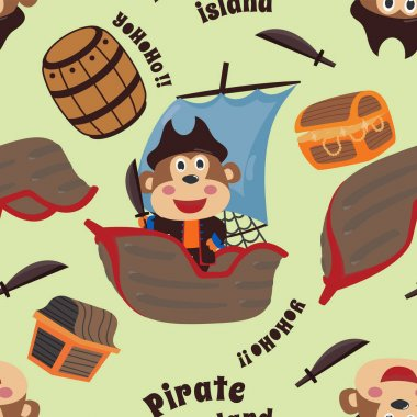 Vector seamless pattern with funny monkey pirate cartoon, Cute Marine pattern for fabric, textile, nursery, baby clothes, background, textile, wrapping paper and other decoration. icon