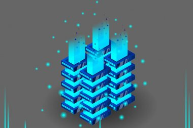 Server room isometric vector, futuristic technology of data protection and processing, networking and web hosting banner, input output data flow icon