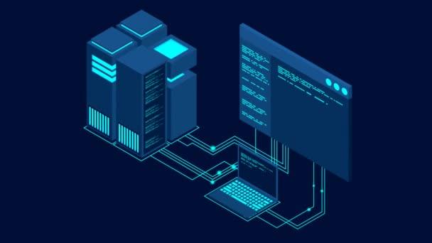 Konzept des Big Data Processing Center lückenhaftes Konzept. Isometrisches Rechenzentrum. Hosting Server oder Data Center Raumkonzept. Videomaterial in 4K-Nahtlosschleife.