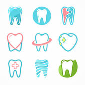 Set of tooth logo design template. Dental logo. Dental clinic logo. Tooth logo. Healthy tooth logo. Dentist logo. Oral logo. Vector logo template