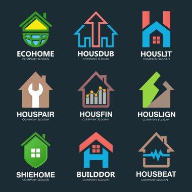 Set of house logo design template. House logo. Home logo. Real estate logo. Property logo. Home repair logo. Hotel logo. Vector logo template