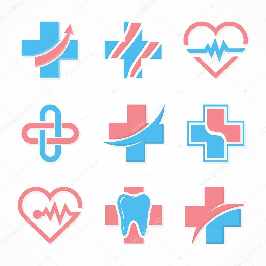 Set of medical cross logo. Pharmacy logo design template. Tooth logo. Dental logo. Medical center logo. Vector medical cross logo. Medical center logo. Medical logo design. Vector logo template