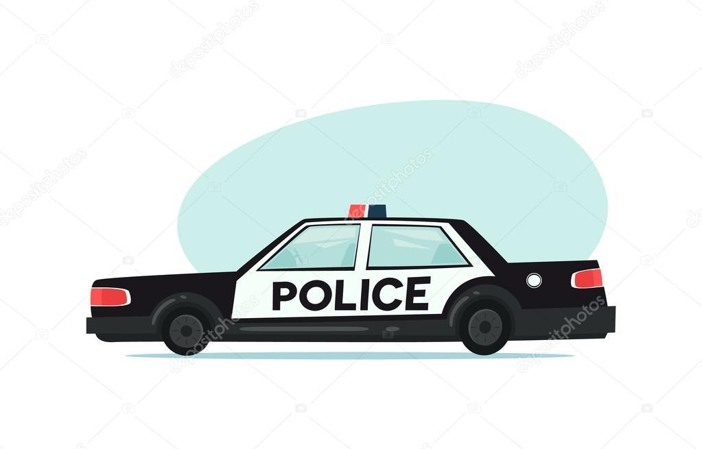 Kresleny Policejni Auto Ikona Izolovane Objekty Na Bilem Pozadi V