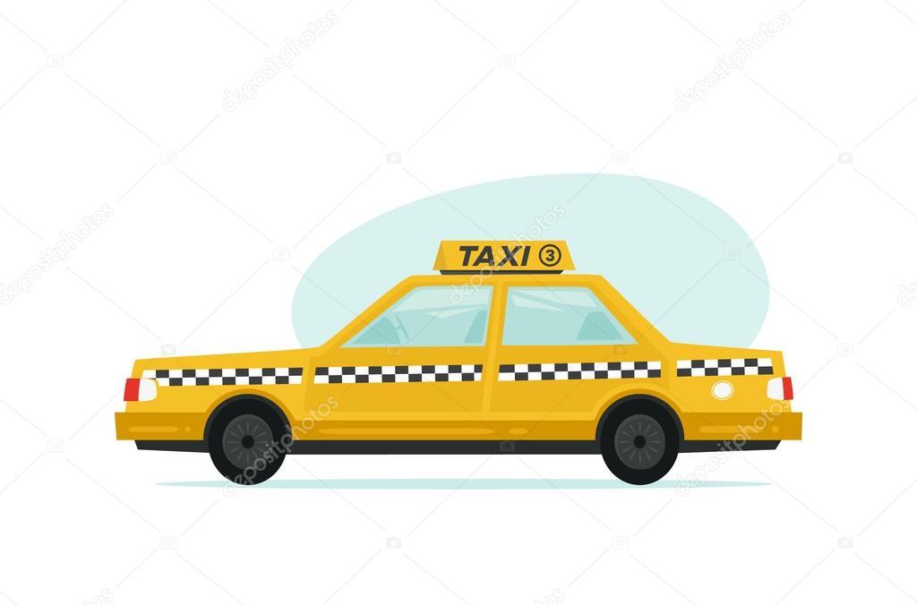 Dibujos: taxis animados   Icono amarillo taxi de dibujos animados. Objetos aislados sobre fondo ...
