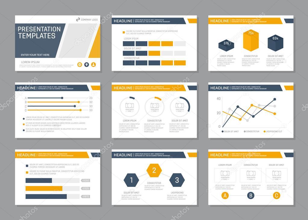 set of blue and orange template for multipurpose presentation slides