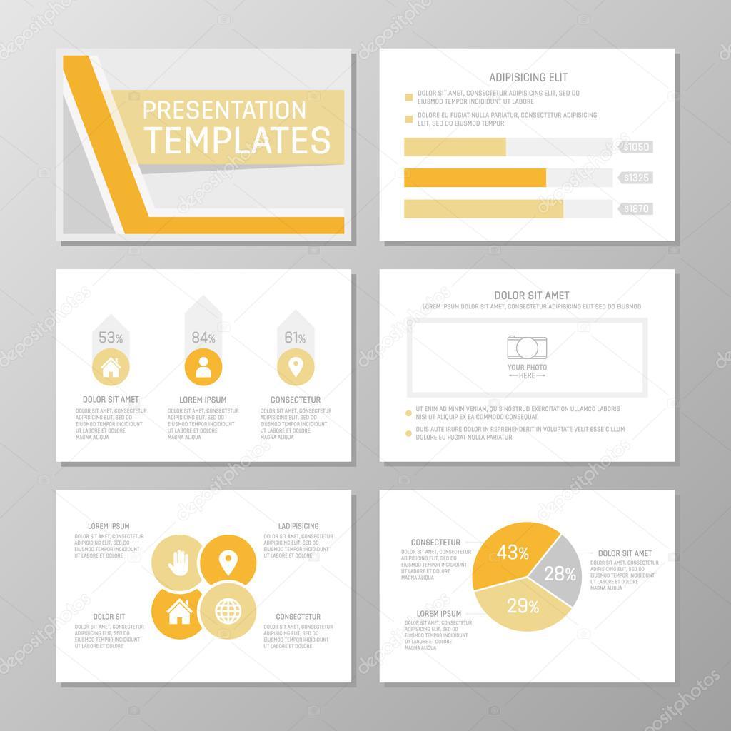 set of orange and gray template for multipurpose presentation slides