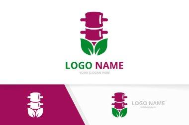 Organic spine logo combination. Unique spinal diagnostic center logotype design template.