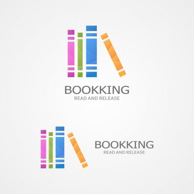 Vector logo with a colored books.