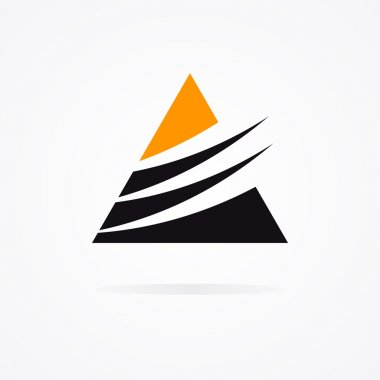 Unusual triangle logo in black and orange colors
