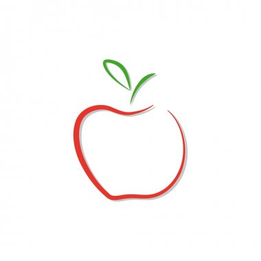 Vector red apple logo isolated.