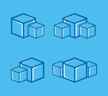 Vector ice cube logo or symbol icon