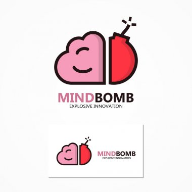Vector logo or icon combination of brain and bomb
