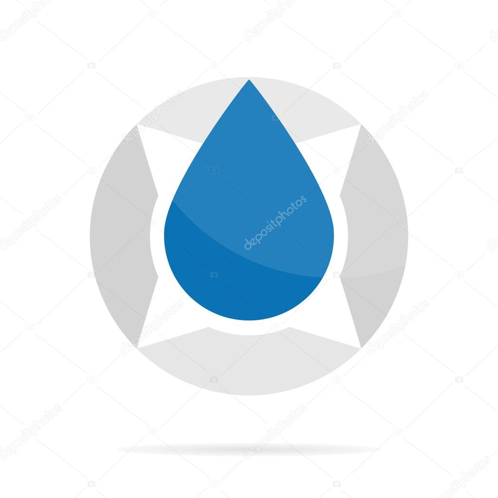 Vector logo combination of a compass and water drop